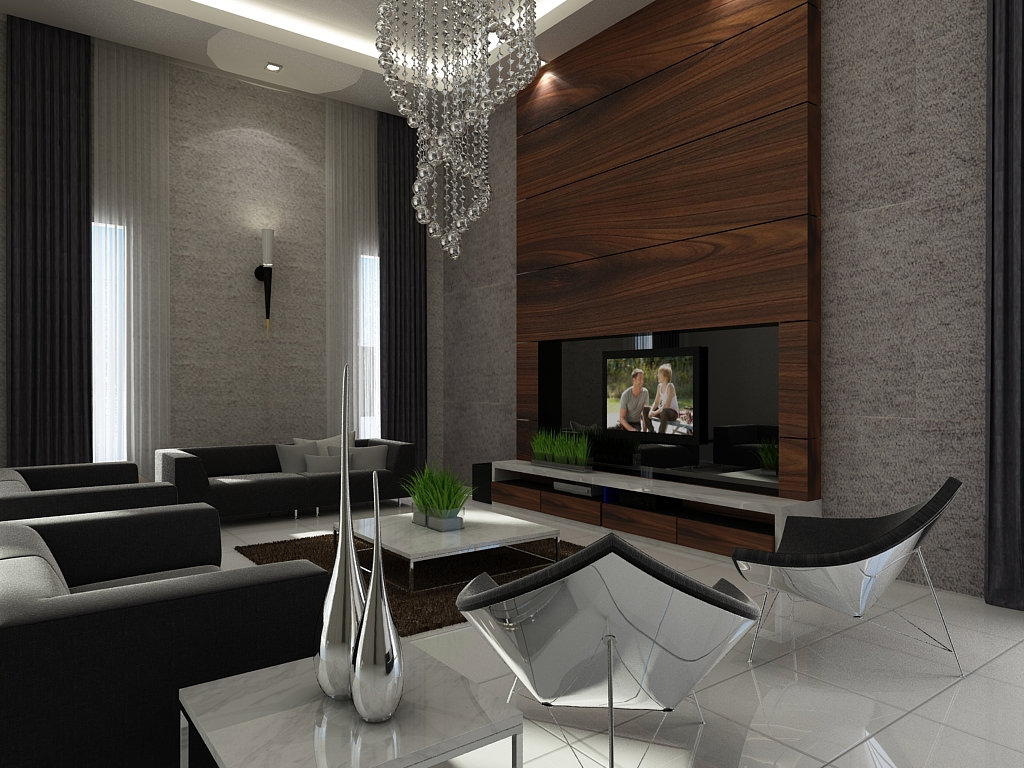 Tv feature wall design living room design jb johor bahru for Living room feature wall